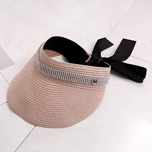 TOORY mural Cinturón De Diamantes De Imitación con Lazo M Sombrero De Paja Superior Vacío Estándar para Mujer Salida De Verano Sombrero De Sol Japonés con Todo Fósforo Sombrero De Verano-Rosa Claro