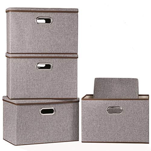 Large Foldable Storage Bin with Lid 4-Pack Linen Fabric Decorative Storage Box Organizer Containers Basket Cube with Handles Divider for Bedroom Closet Office Living Room 177x118x118