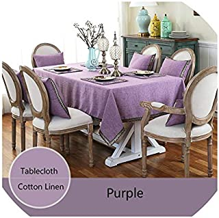 Small Oranges Nordic Simple Style Tablecloth Cotton Linen Table Cover Solid Color Rectangle/Square Table Cloth for Wedding/Party/Dinning Room,Purple,60x60cm Square