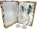CRISTALERIA BOHEMIA 2 Copas de champán fuhcia para Novios, Bodas de Plata/Oro, Aniversarios, colección ALIANZAS, Aplique bilaminado. (ALIANZAS Plata, Vidrio)