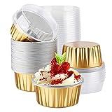Aluminum Cupcake Baking Cups, Eusoar 50pcs 5oz Muffin Liners, Disposable Foil Ramekins, Aluminum Foil Baking Cups, Cupcake Baking Cups, Aluminum Foil Cupcake Holders Pans with Lids