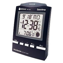 Datexx DRC-605BK Radio Control Alarm Clock with Month/Day and Temperature, Black