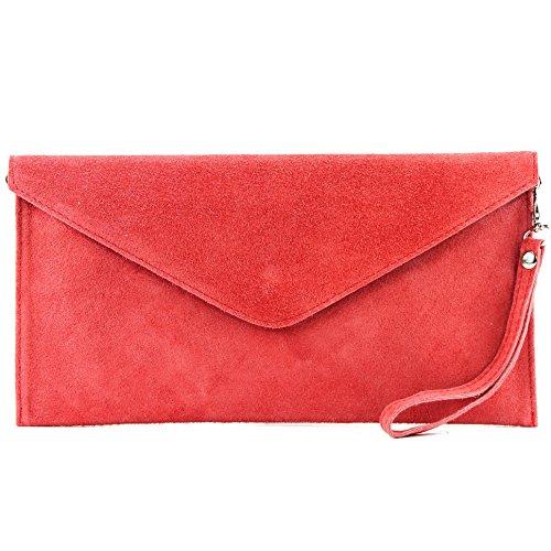 modamoda de - ital embrague/noche bolsa de gamuza T106, Color:salmón