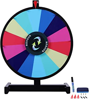 ROVSUN 18''/24'' Tabletop Spinning Prize Wheel 14 Color Slots Spinner with Iron Base&Stand, Dry Erase&Mark Pen Included, Win Fortune Spin Game, for Trade Show Carnival Casino Party Market Raffle