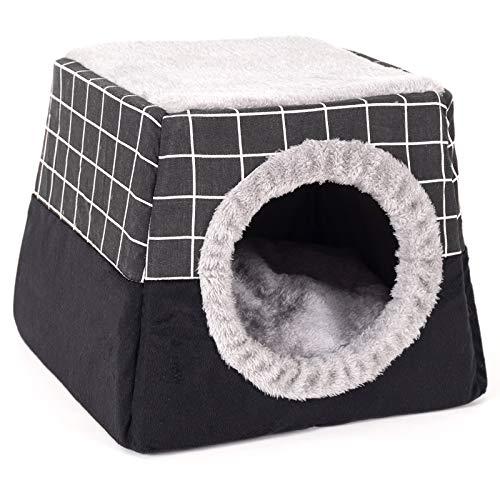 NIBESSER Nido di Gatto 2 in 1 a Doppio Uso Cuccia per Cani con Cuscino Rimovibile Morbido Comodo Casetta per Gatto a Cubo Semi-Chiusa Divanetto di Cane da Interno per Quattro Stagioni(Nero,XL)