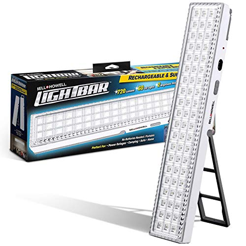 Bell + Howell Light BAR 16.5-inches, 720-Lumens, Built-in 60-LED Bulbs, Rechargeable Portable Lamp with Folding Stand and Hanger As Seen On TV, White