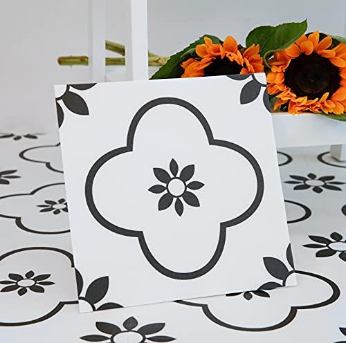 Peel and Stick Floor Tile, Black and White Flower Vinyl Flooring, Self Adhesive, Waterproof, Easy to Install Floor Tile for Update Bathroom, Kitchen, Laundry Room, 12x12in, Pack of 10