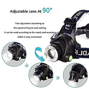 Linterna Frontal, Linterna Cabeza LED - USB Recargable, Zoomable Luz Frontal - Impermeable, Lámpara de Cabeza para Camping, Excursión,Pesca,Carrera,Ciclismo, con 3 Modos de Iluminación