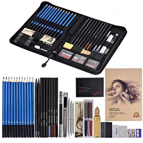 Cozywind Lapices Dibujo Artístico Bosquejo Material Set,Incluye Lápices Pastel,Grafito,Carboncillos,Bloc,Caja Portátil (49)