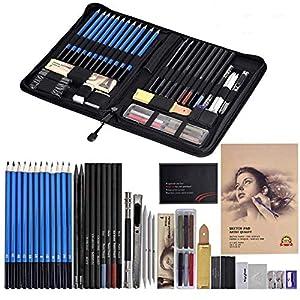Cozywind Lapices Dibujo Artístico Bosquejo Material Set,Incluye Lápices Pastel,Grafito,Carboncillos,Bloc,Caja Portátil…