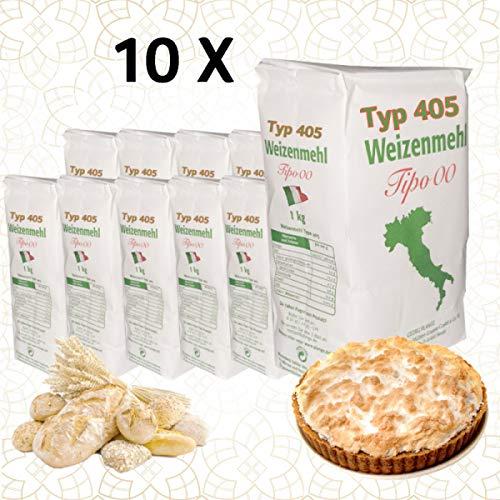 10 x 1 Kg Weizenmehl Typ 405 Tipo 00 PIZZA, Kuchen, Feingebäck, Mürbteig, Pfannkuchen