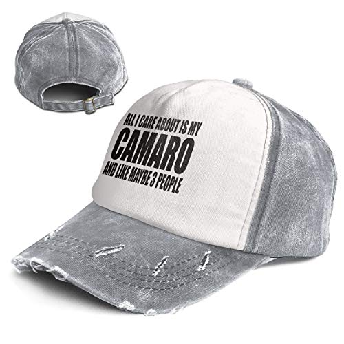 All I Care About is My Camaro and Like Maybe 3 People Vintage Baseball Cap for Women and Men Adjustable Trucker Sun Visor Cap Gray