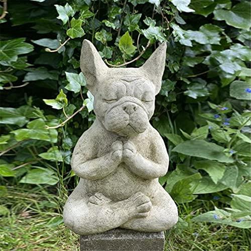 French Bulldog Garden Statue, Meditation Bulldog Resin Garden Decor, Sitting Yoga Animal Statues, Buddha Dog Garden Sculptures & Statues Outdoor Patio Decor or Home Decor