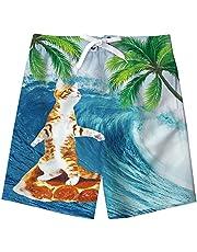 NEWISTAR - Bañador para jóvenes con impresión 3D, secado rápido, con forro de malla, para verano, playa, pantalones cortos de natación, para jóvenes de 8-16 años