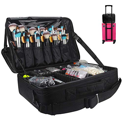 Kootek 2-Layers Travel Makeup Bag, Portable Train Cosmetic Case Organizer with Mirror Shoulder Strap