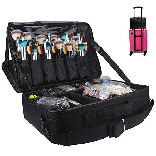 MONSTINA Large Capacity Makeup Case 3 Layers Cosmetic Organizer Brush Bag Makeup Train Case
