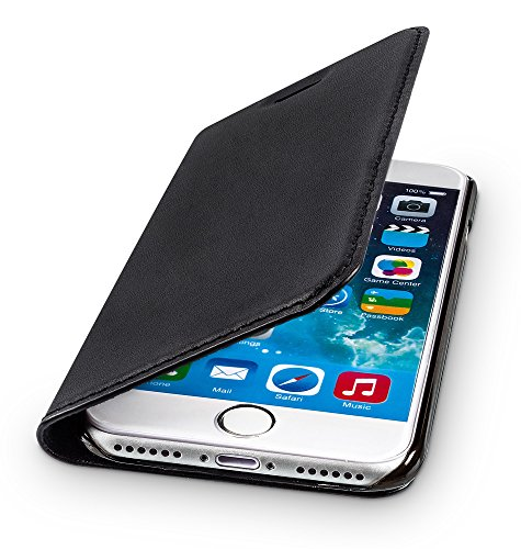 WIIUKA Echt Ledertasche - TRAVEL - für Apple iPhone SE (2020), iPhone 8 und iPhone 7 mit Kartenfach, extra Dünn, Tasche Schwarz, Leder Hülle kompatibel mit iPhone SE/8/7
