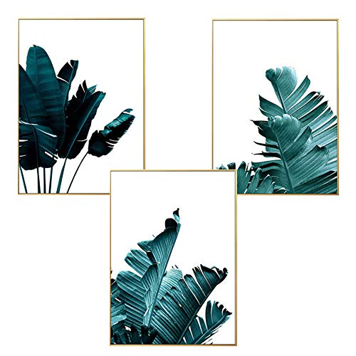 LucaSng Premium Poster 3er-Set, Palmblatt Blätter Papagei Vogel Ananas, Wandbilder Kunstposter Ohne Bilderrahmen, Grün Print Bilder für Wohnzimmer (Stil D,20 x 30 cm)