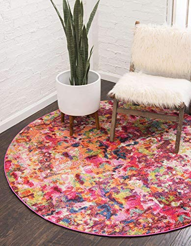 Unique Loom Chromatic Collection Modern Abstract Colorful Kids Magenta Round Rug (6' 0 x 6' 0)