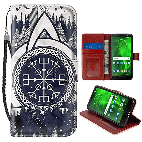 Wallet Case Compatible for Moto G6 (2018) 5.7in Blue and White,Celtic Knot for Girls