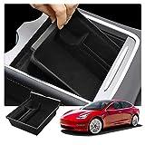 RUIYA Tesla Model 3 Boîte de Rangement Auto Central Console Accoudoir Boîte Personnalisé Organisateur Insert Plateau Accessoire De Voiture 2021 Update (Noir)