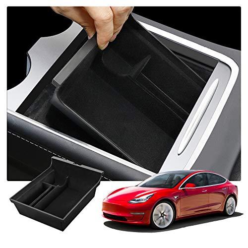 RUIYA Tesla Model 3 2021+ Armlehne Aufbewahrungsbox Mittelkonsole Organizer mit Antirutschmatten Angepasst Auto Zubehör 2021 Update (Schwarz)