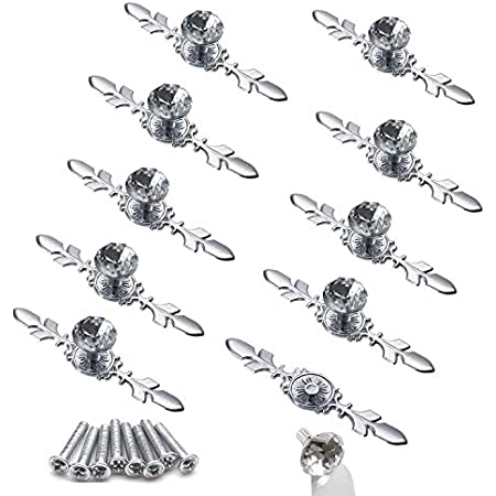 10pcs Crystal Cabinet Knobs Drawer Ymaiss Dresser Handles Diamond Glass Pulls with Black Back Plate and Screws Clear Glass Diamond Decorative Knobs,Glass Cabinet Knobs,Clear Knobs