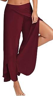 Donna Tinta Unita Tasca Ampio Pantaloni Harem Irregolare Gamba Larga High Rise