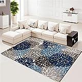 WQ-BBB Fácil De Limpiar Alfonbras De Dormitorios Cubierto con Flores Azules Y Grises Pintadas A Mano Anti-Sucio Alfombra Outlet 140X200cm