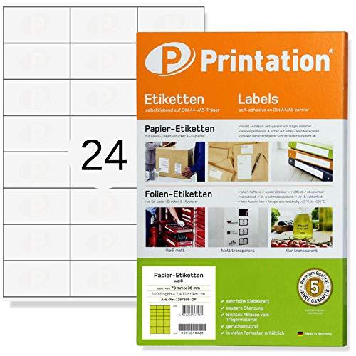 Etichette multifunzione 70 x 36 mm con fogli A4, etichette adesive, 24 etichette per foglio, 100 fogli, 2400 pezzi, colore bianco, 70x36 Etichette 3x8 de 100 fogli - 3475 3490 6122 4453 la131 la132