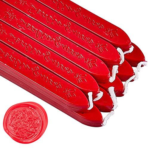 CRASPIRE 20 Pezzo di Ceralacca in Stick con Stoppini Antico Manoscritto Ceralacca per Sigillo di Cera Timbro Busta Biglietti Invito Decorazione Regalo (Rosso)