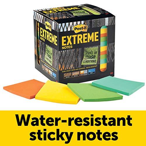 Notas extremas Post-it, resistentes al agua, diseñadas para condiciones duras, Green, Yellow, Orange, Mint, 12 bloques de notas