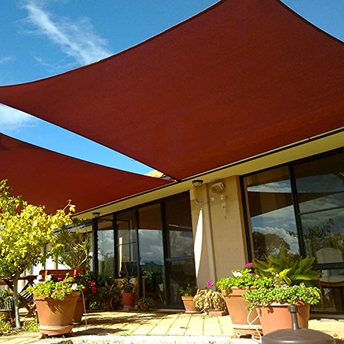 SUNLAX Large Sun Shade Sail, 20'x23' Red Rectangle Canopy Shades for Outdoor Patio Pergola Cover Sunshade Sails UV Blocking Canovas Covers