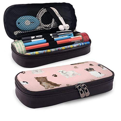 AOOEDM Pistas para perros, perro dulce de cuero de PU, estuche para lápices, estuche para bolígrafos, bolsa con cremallera, útiles escolares para estudiantes, monedero, bolsa de maquillaje cosmético