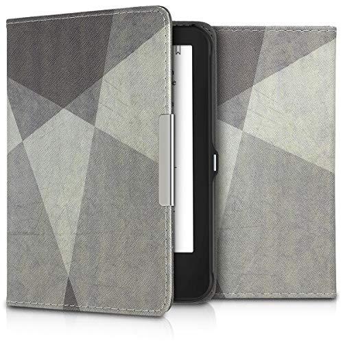 kwmobile Hülle kompatibel mit Tolino Shine 2 HD - Kunstleder eReader Schutzhülle Cover Hülle - Geometric Grau Schwarz