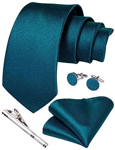 Herren-Krawatte und Einstecktuch, Paisley-, Blumenmuster, Manschettenknöpfe, Krawattenklammer, Set für Hochzeit und Geschäft Gr. 85, Blaugrün 7138