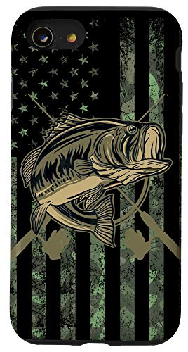 iPhone SE (2020) / 7 / 8 Camo American Flag Bass Fishing Gift Love Fishing Fisherman Case