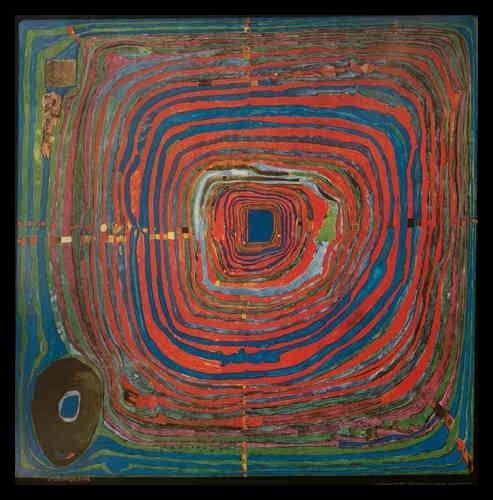 Bild mit Rahmen Friedensreich Hundertwasser - DER GROSSE WEG - Holz schwarz, 68 x 67cm - Premiumqualität - , Klassische Moderne, Abstrakt, Pflanze, Blumen, Blumentopf, geometrische Muster, abstrakte.. - MADE IN GERMANY - ART-GALERIE-SHOPde