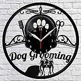 Dog Grooming Salon Reloj de Pared de Vinilo Disco para el hogar Arte Hecho a Mano Regalo 6 12 Pulgadas / 30 cm Reloj de Pared con Disco de Vinilo   Regalo para Adolescentes, Frikis lejos de