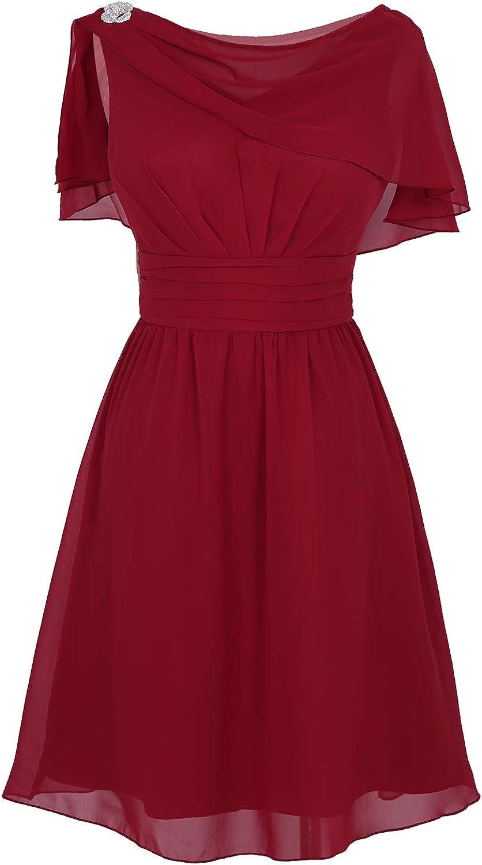 YiZYiF Womens Chiffon Ruffle Flattering Cape Sleeve Evening Ball Prom Gown Cocktail Dress