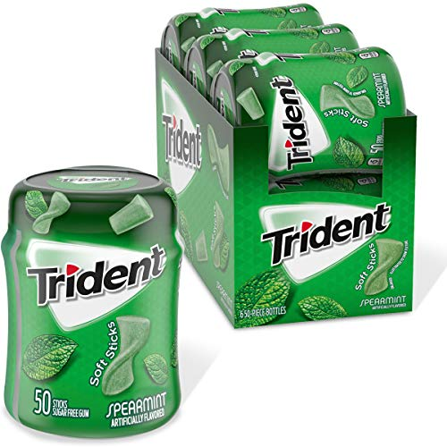 Trident Unwrapped Spearmint Sugar Free Gum, 6 Bottles of 50 Pieces (300 Total Pieces)