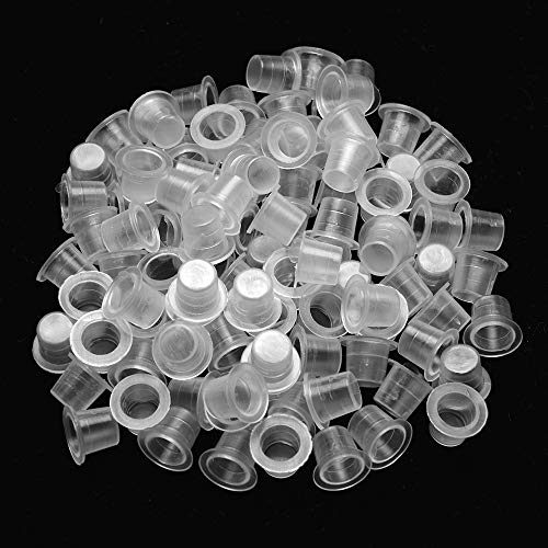 ATOMUS Tattoo Farbkappen Cups Small 300 Stück Tattoo Kappe Inks Cups Transparent Pigment Cap Kunststoff Tinten Tasse Tattoo Zubehör Einweg