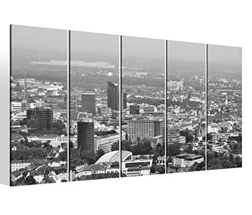 Leinwandbilder 5 teilig XXL 200x100cm schwarz weiß Skyline Dortmund Stadt Druck auf Leinwand Bild 9BM1193