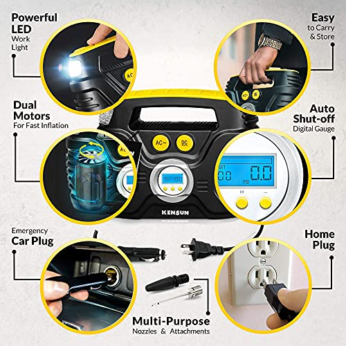 Kensun AC/DC Tire Inflator Pump for Car 12V DC and Home 110V AC Swift Performance 2.0 Portable Air Compressor Pump for Car and Home