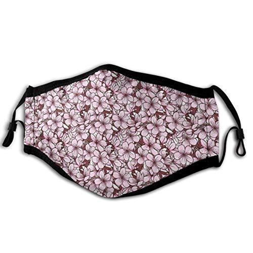 Cómoda máscara a prueba de viento, arreglo ornamental con flores de cerezo florecientes Japón, decoraciones faciales impresas para adultos unisex