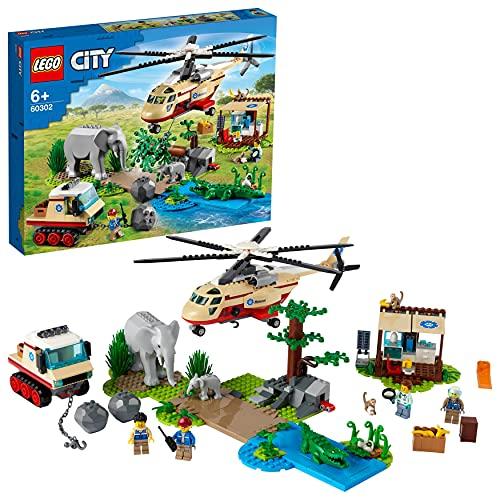 LEGO City Wildlife Operazione di Soccorso Animale, Set Clinica Veterinaria con Elicottero Giocattolo e 4 Minifigure, 60302