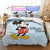 SK-YBB Niño Juego De Funda De Edredón De Minnie Y Mickey Mouse Funda Nórdica Y Funda De Almohada De Microfibra (B1,155 x 220 cm-Cama 90cm)
