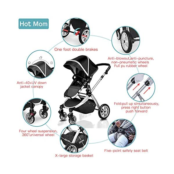 Pushchair 2 in 1,Upgrade Baby Stroller with Independent Seat and Bassinet Combo Pram,Foot muff and Cup Holder 7 Gifts,(Black) HOT MOM INTIMATE SERVICE: FBA prime service,free shipping, 2-year warranty period, accessories parts can be replaced and repaired,180 days unsatisfied full refund.Passed the United States baby stroller Standard Test ASTM F833-15. 7 FREE GIFTS:Stroller seat、bassinet、Rain Cover、mosquito net、Cup holder、Wrist band、car seat adapter.Reversible, you can face your mother, you can also face the outside world. UPGRADED MATERIAL:Say goodbye to Lycra fabric and Oxford fabric,use the upgraded down cotton fabric in the seat,bassinet and canopy design,which is specially designed for the newborn baby's comfort and more skin friendly.Sweet sleep for baby. 2