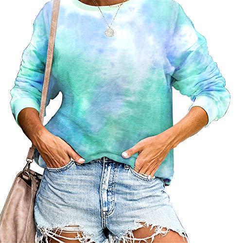 Sudadera para Mujer,Moda Manga Larga Casual Fuera del Hombro Sudaderas Cortos Cuello Redondo Jersey Mujer Otoño Primavera Blusa Tops Tumblr Suéter Mujer Abrigo Deportiva