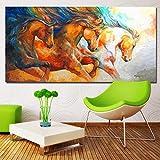 Pintura de arte abstracto mustang run poster lienzo pintura arte pintura pared arte sala decoración pintura A 70x140cm